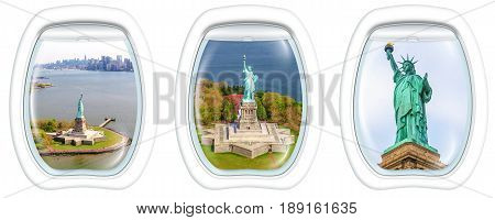Three porthole frame windows helicopter view of Liberty Island and the famous Statue of Liberty monument symbol of New York City, United States.