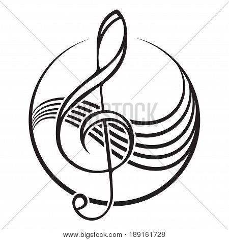 Logo of a black treble clef, sign, emblem.