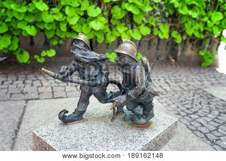 Gnome statue in Wroclaw Poland. Typical gnome statue in Wroclaw