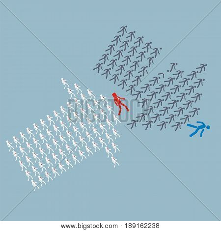 Teamwork concept. The crowd of workers follows the leader of the team overcoming competitors. vector illustration.