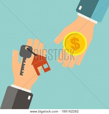 Real estate concept. Agent holding a key for home and buyer is hold money. Buying house