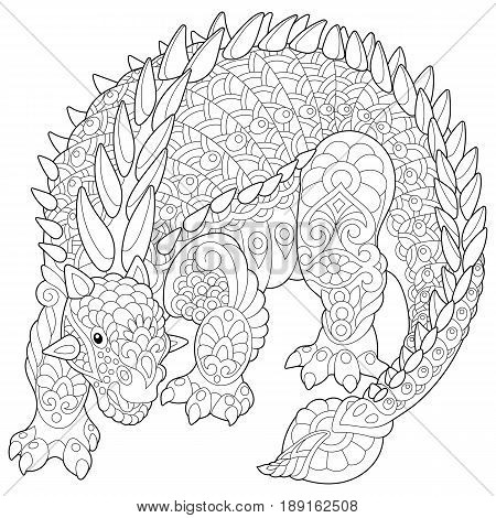 Stylized ankylosaurus dinosaur of the Cretaceous period isolated on white background. Freehand sketch for adult anti stress coloring book page with doodle and zentangle elements.