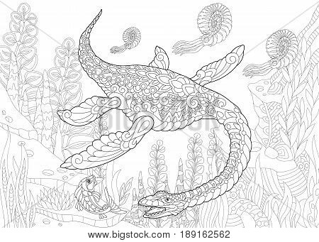 Stylized plesiosaurus dinosaur of the Mesozoic era. Freehand sketch for adult anti stress coloring book page with doodle and zentangle elements.