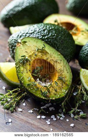 Avocado With Lime , Thyme And Sea Salt