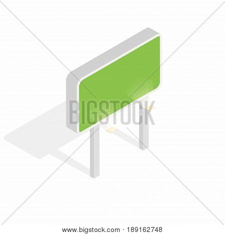 Isometric billboard with lights isolated on white background. Blank billboard advertising concept. Vector