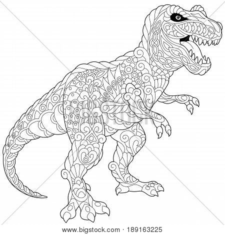 Stylized tyrannosaurus (t rex) dinosaur of the late Cretaceous period isolated on white background. Freehand sketch for adult anti stress coloring book page with doodle and zentangle elements.