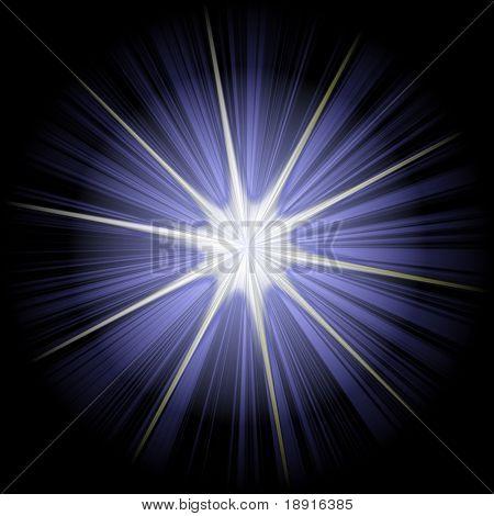 white blue christmas star or supernova over black