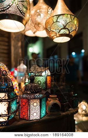 Ramadan lanterns in historical  Khan El-Khalili Souq marketplace is one of the tourist magnets in Capital City Cairo, Egypt. poster