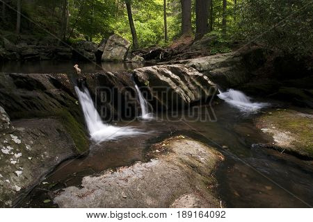 Small water cascades on a  tributary to the Ocoee River in eastern Tennessee during springtime.