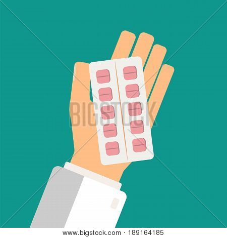 Healthcare concept. Doctor hand holding blister pack of pills. Take pills. Hands pharmacist. Vector illustration.