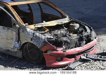 Car crash, burnt-out wreck, Stockholm - Sweden