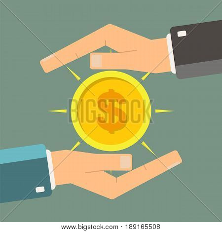 Concept of a safe and secure investment insurance. Hands protecting or giving a dollar coin. Protection money. Vector illustration