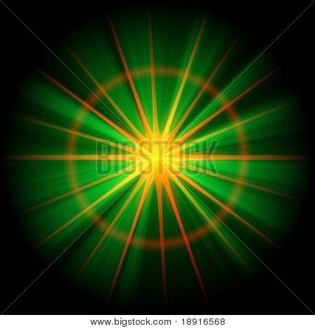 orange, green star or supernova over black, christmas concept