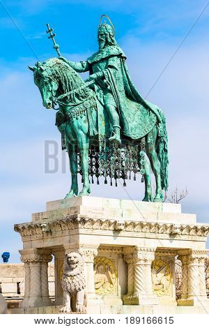 Horse riding statue of Stephen I of Hungary, Fishermen's Bastion, Budapest, Hungary