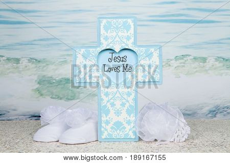 A baptism themed still life for a baby boy