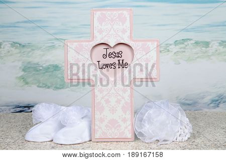 A baptism themed still life for a baby girl