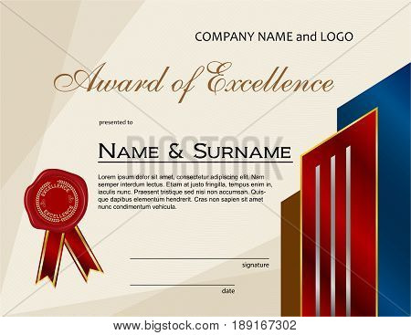 Award of Excellence with wax seal and ribbon