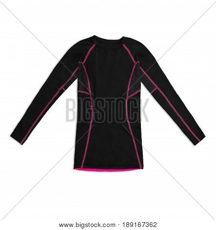 Black Long Sleeve Sports Shirt With Pink Seams Isolated On White Background