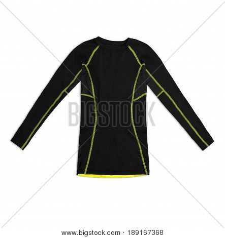 Black Long Sleeve Sports Shirt With Yellow Seams Isolated On White Background
