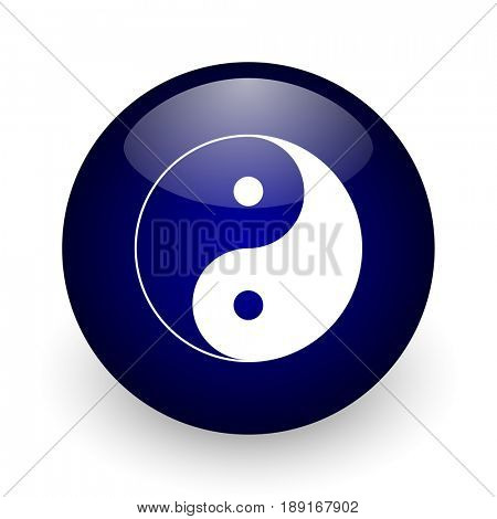Ying yang blue glossy ball web icon on white background. Round 3d render button.