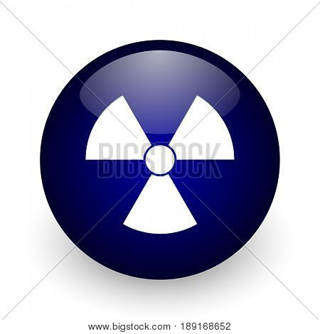 Radiation blue glossy ball web icon on white background. Round 3d render button.