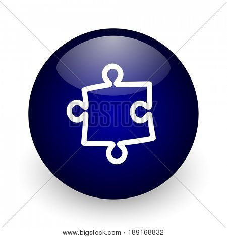 Puzzle blue glossy ball web icon on white background. Round 3d render button.