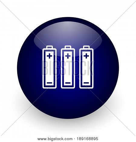 Battery blue glossy ball web icon on white background. Round 3d render button.