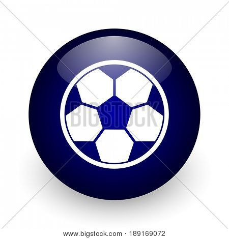 Soccer blue glossy ball web icon on white background. Round 3d render button.