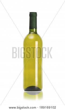 Mock up bottle of wine isolated on white background