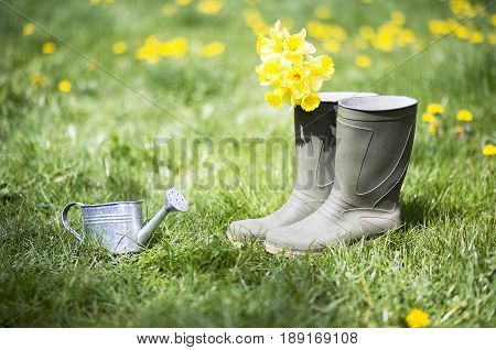 Summer gardening - watering can rubber boots and yellow flowers