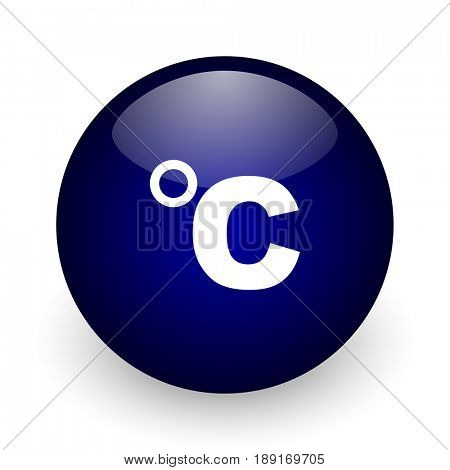 Celsius blue glossy ball web icon on white background. Round 3d render button.
