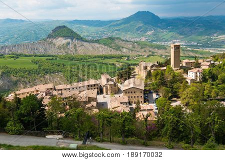 Medieval old town San Leo in the Marche regions in Italy next to Rimini