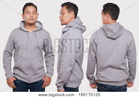 Blank sweatshirt mock up front back and side view isolated. Asian male model wear plain gray hoodie mockup. Hoody design presentation. Jumper for print. Blank clothes sweat shirt sweater