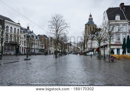 MAASTRICHT NETHERLANDS - FEBRUARY 20 2016: Market square in the historical center of Maastricht a city and a municipality in the southeast of the Netherlands