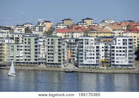 Waterfront apartment buildings in Stockholm - Swede.