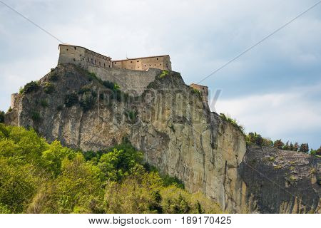 Medieval old fortress of in San Leo town on rock in the Marche regions in Italy next to Rimini