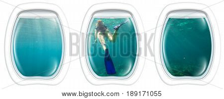 Three porthole frame windows of underwater submarine ship on young female snorkeling in tropical sea. Woman apnea swims in coral reef with sunbeams.