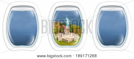 Three porthole frame windows of Liberty Island and the Statue of Liberty monument symbol of New York City, United States.