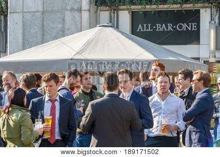 All Bar One, A Pub With Outdoor Space In Canary Wharf Packed With People Drinking