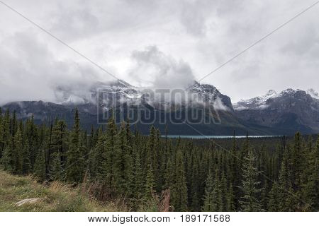 The spectacular view from a turnout along the Icefields Parkway in Banff National Park Alberta Canada.