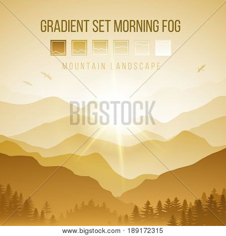 Abstract Landscape with Silhouettes of Misty Mountains and Forest at Yellow Sunrise with Birds in the Sky