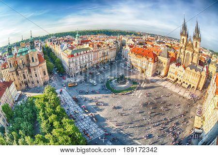 PRAGUE, CZECH REPUBLIC - MAY 2017: Buildings on the Old Town square Staromestska Namesti in Prague, Czech Republic. Fish-eye lens.