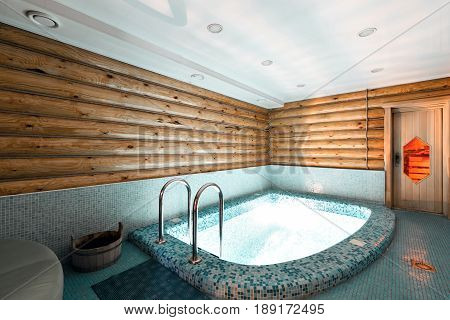 The bathroom in a rustic log cabin, in the mountains. with a beautiful interior.