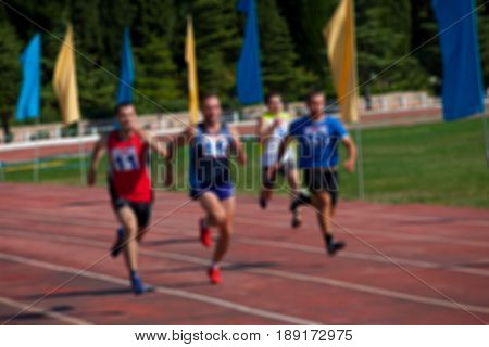 Blurred View Of Man Athletic Running Competition