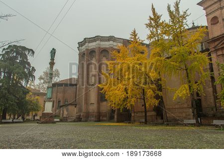 Italy Bologna - November 19 2016: the view of the historical Dominican church side view of Basilica of San Domenico on November 19 2016 in Bologna Emilia Romagna Italy.