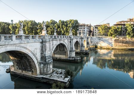 Ponte Sant'Angelo and Castel Sant'Angelo in the Morning Rome