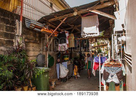 Many Shacks Located At Slum Region In Manila, Philippines.