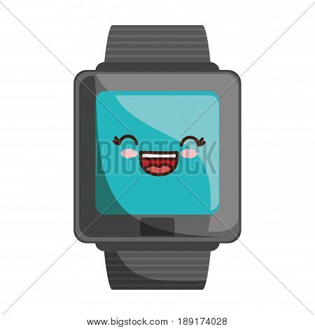 kawaii watch icon over white background colorful design vector illustration