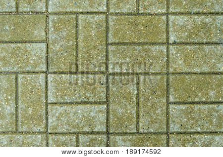 Green brick paving stones on a sidewalk. Abstract background texture