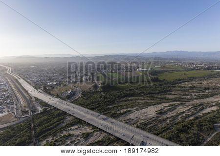 Aerial view of the 101 Freeway crossing the Santa Clara River in Ventura County, California.